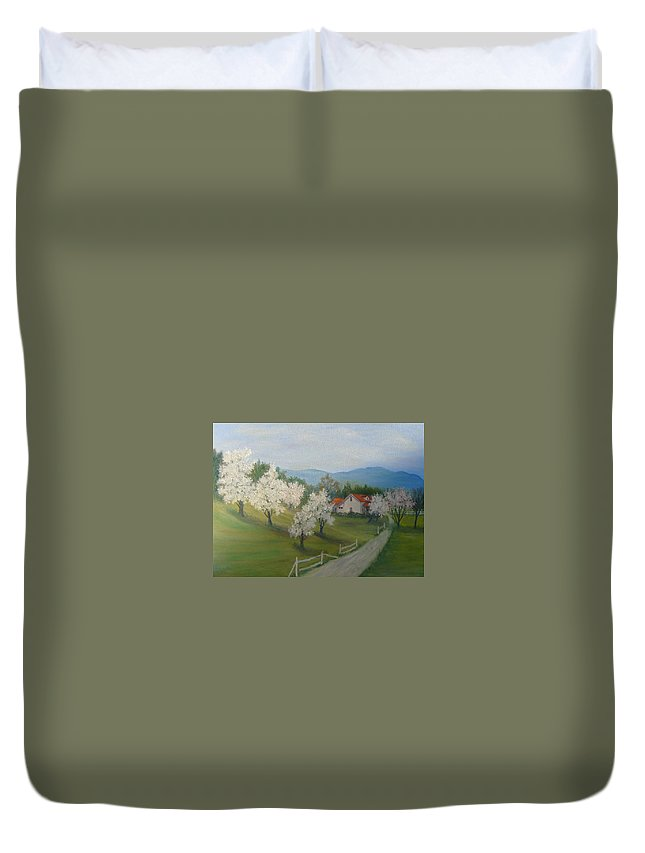 Landscape; Spring; Mountains; Country Road; House Duvet Cover featuring the painting A Day In The Country by Ben Kiger