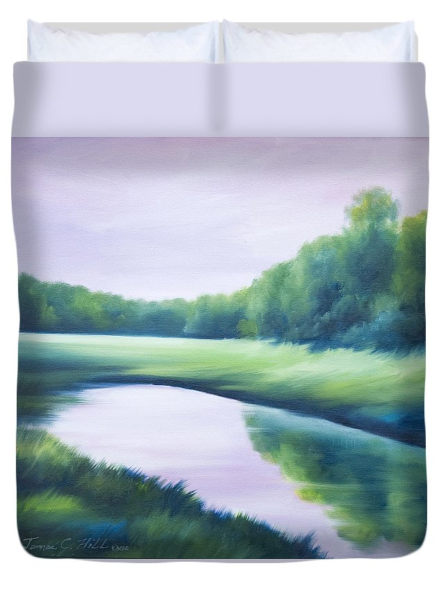 Nature; Lake; Sunset; Sunrise; Serene; Forest; Trees; Water; Ripples; Clearing; Lagoon; James Christopher Hill; Jameshillgallery.com; Foliage; Sky; Realism; Oils; Green; Tree; Blue; Pink; Pond; Lake Duvet Cover featuring the painting A Day In The Life 1 by James Christopher Hill