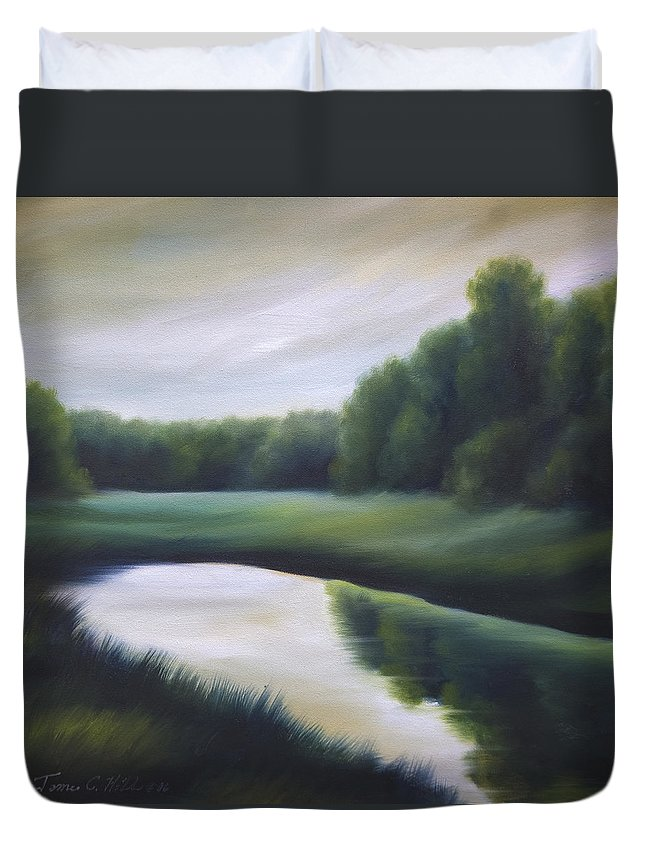 Nature; Lake; Sunset; Sunrise; Serene; Forest; Trees; Water; Ripples; Clearing; Lagoon; James Christopher Hill; Jameshillgallery.com; Foliage; Sky; Realism; Oils; Green; Tree Duvet Cover featuring the painting A Day In The Life 3 by James Christopher Hill