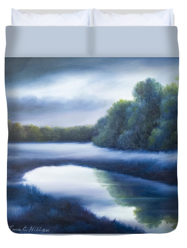Nature; Lake; Sunset; Sunrise; Serene; Forest; Trees; Water; Ripples; Clearing; Lagoon; James Christopher Hill; Jameshillgallery.com; Foliage; Sky; Realism; Oils; Green; Tree; Blue; Pink; Pond; Lake Duvet Cover featuring the painting A Day In The Life 4 by James Christopher Hill