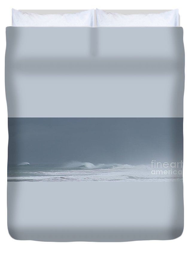 Moss Landing Duvet Cover featuring the photograph A Delicate Sea by Larry Daeumler