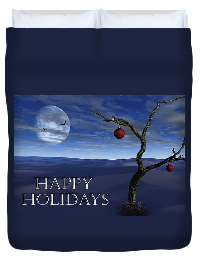 Surreal Duvet Cover featuring the digital art A Desert Christmas by Richard Rizzo