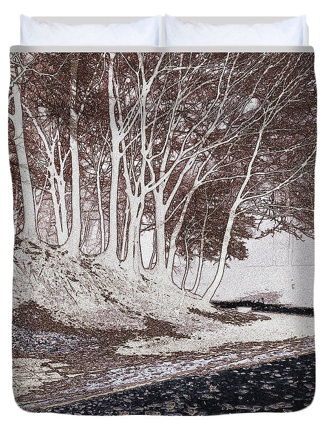 Tree Duvet Cover featuring the digital art A Different World #1. Groove Of Trees by Claudio Lepri