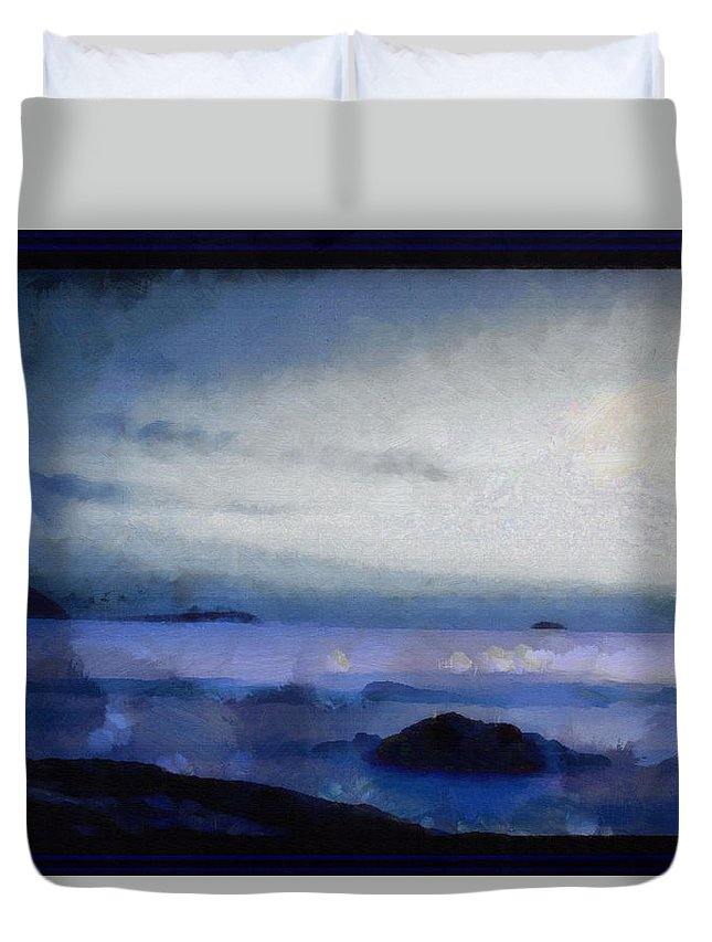 Lighthouse Duvet Cover featuring the digital art A Distant Beacon by Mario Carini