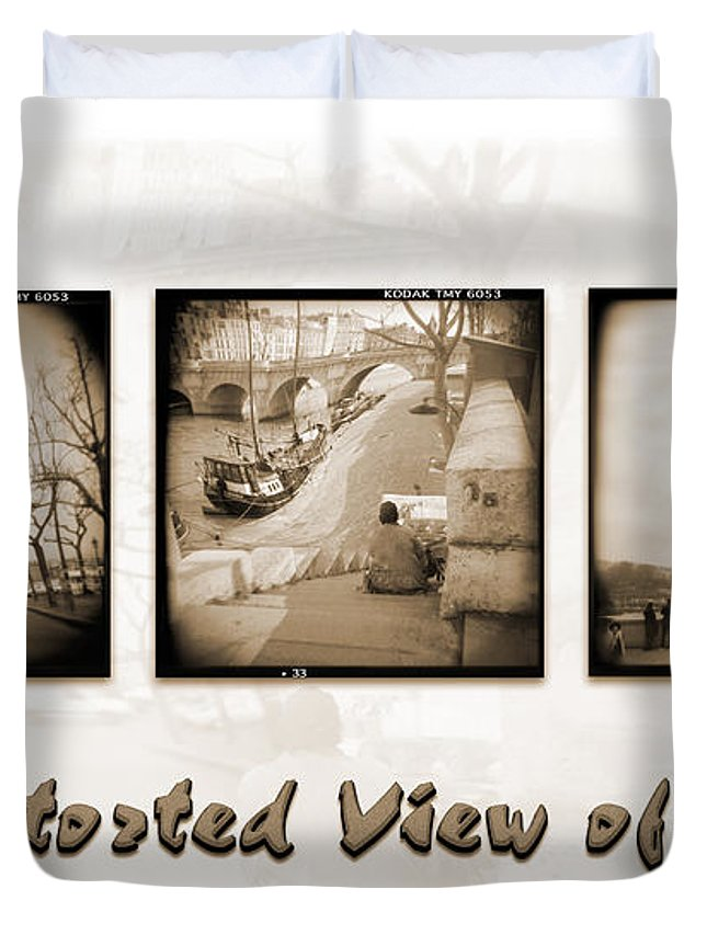 Landscape Duvet Cover featuring the photograph A Distorted View Of Paris by Mike McGlothlen