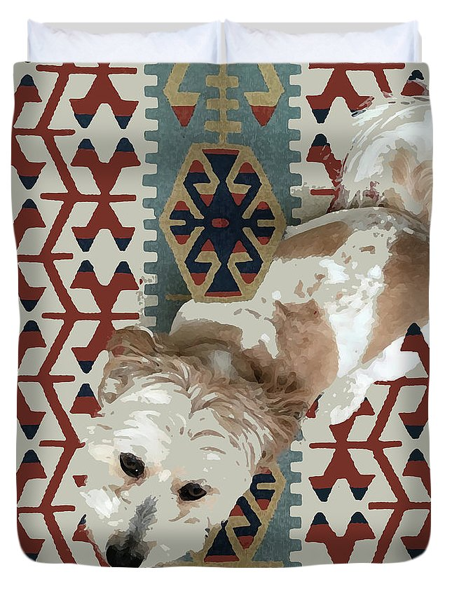 Dog Duvet Cover featuring the mixed media A Dog In On A Rug by Stan Magnan