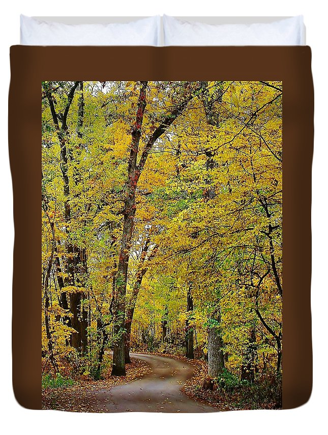 Woodland Duvet Cover featuring the photograph A Drive Through The Park by Bruce Bley