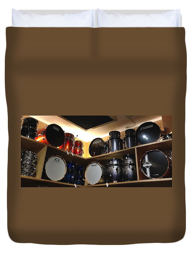 Drums Duvet Cover featuring the photograph A Drummer's Dream by Maria Malayter