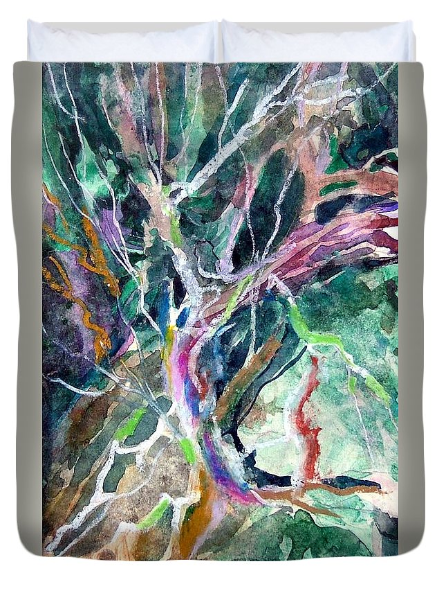 Tree Duvet Cover featuring the painting A Dying Tree by Mindy Newman