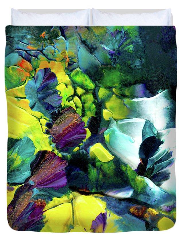 Flowers Duvet Cover featuring the painting A Fairy Wonderland by Nan Bilden