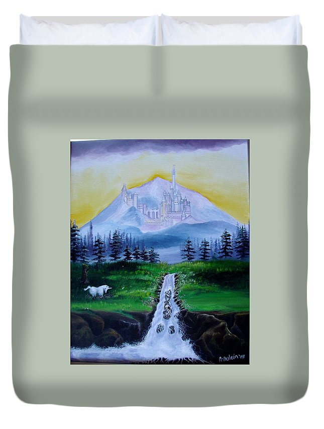 Landscape Duvet Cover featuring the painting A Fairytale by Glory Fraulein Wolfe