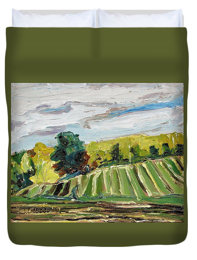 Art Duvet Cover featuring the painting A Fall Day In The Townships by Francois Fournier