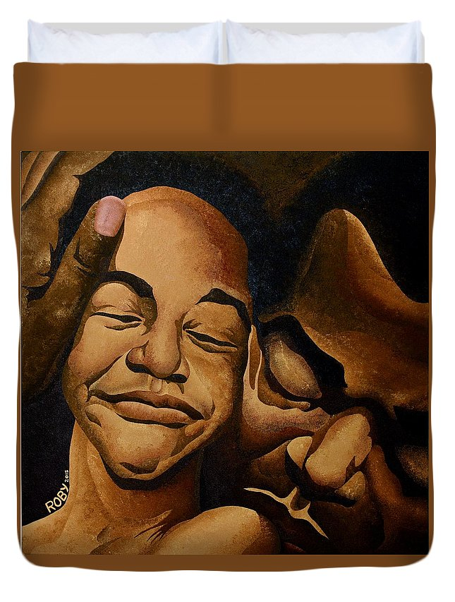 Facial Image Of African American Father And Son Duvet Cover featuring the painting A Father's Love by William Roby