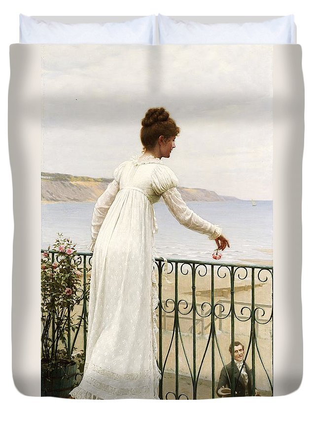A Favour Duvet Cover featuring the painting A Favour by Edmund Blair Leighton
