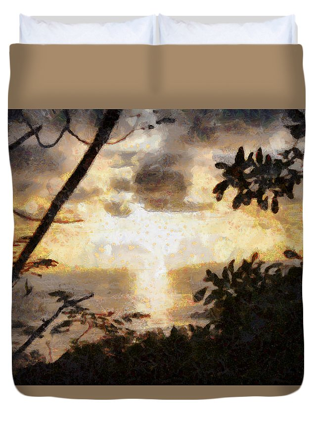 Sunset Duvet Cover featuring the photograph A Fiery Sunset by Ashish Agarwal