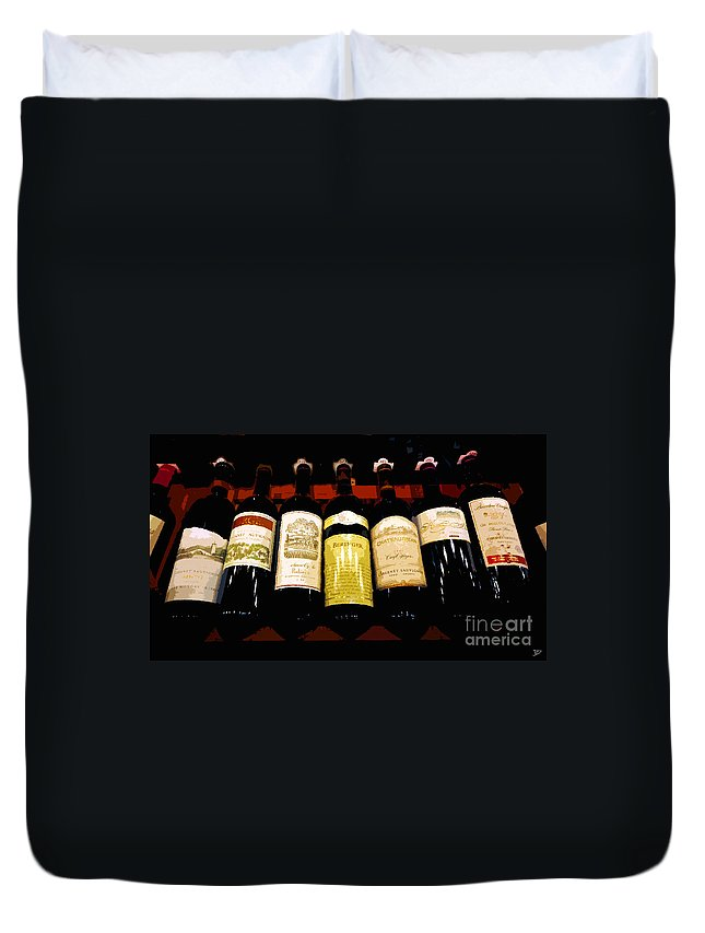 Wine Duvet Cover featuring the painting A Fine Selection by David Lee Thompson