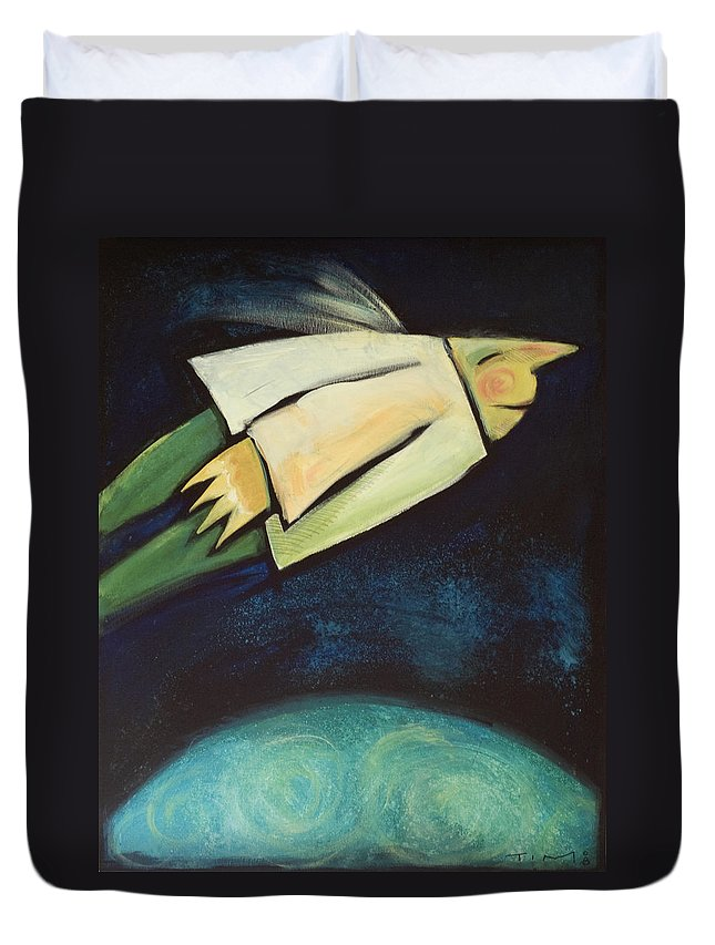 Universe Duvet Cover featuring the painting A Finger Two Dots Then Me by Tim Nyberg