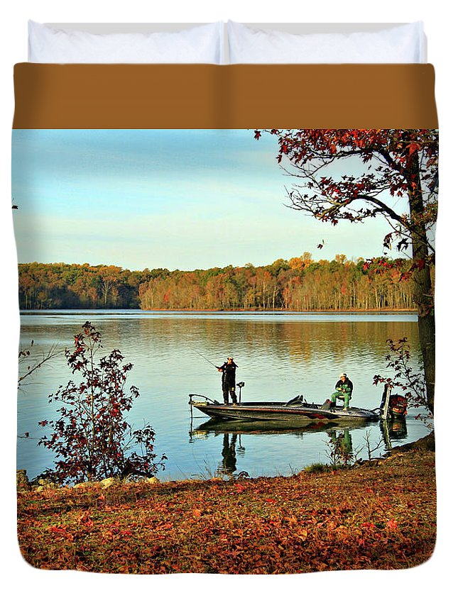 Fishing Duvet Cover featuring the photograph A Fishing We Will Go by John Lewis