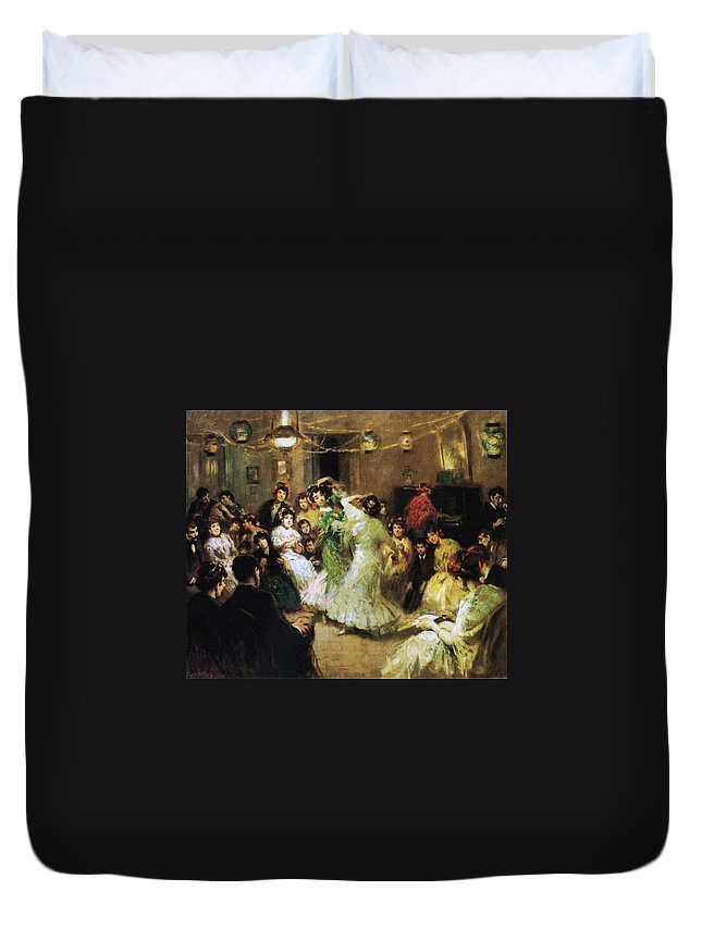 A Flamenco Party At Home Duvet Cover featuring the painting A Flamenco Party At Home by Francis Luis Mora