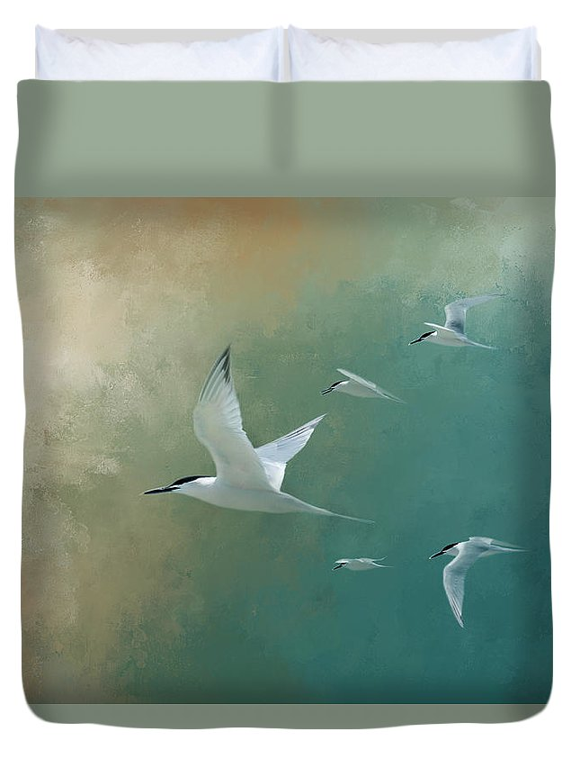Egmont Key Duvet Cover featuring the photograph A Flight Of Terns by Marvin Spates
