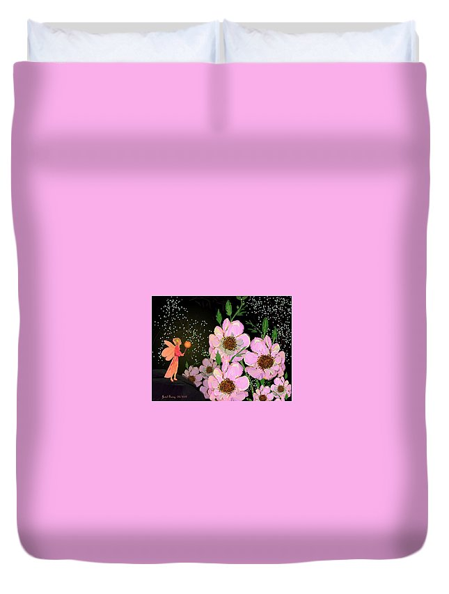 Fantasy Duvet Cover featuring the digital art A Flower Fairy by Jewel Savoy