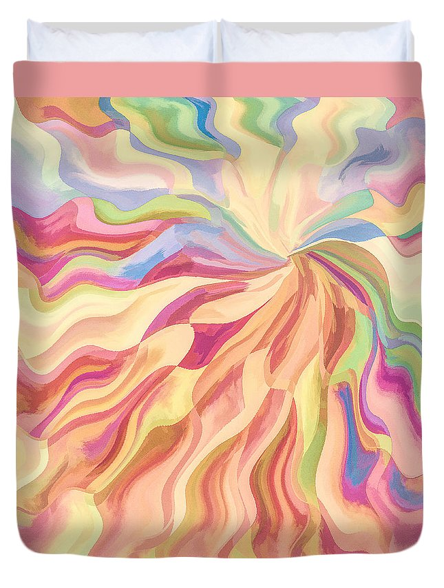 Sunburst Duvet Cover featuring the digital art A Flower For Georgia by Jon Woodhams