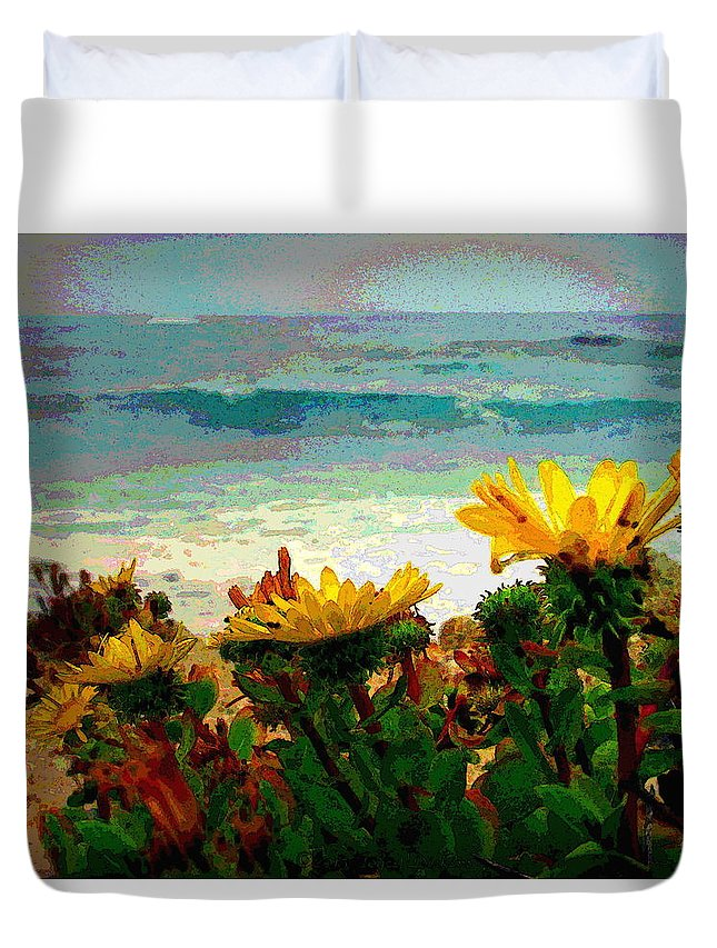 Watercolor Duvet Cover featuring the photograph A Flowery View Of The Surf Watercolor by Joyce Dickens