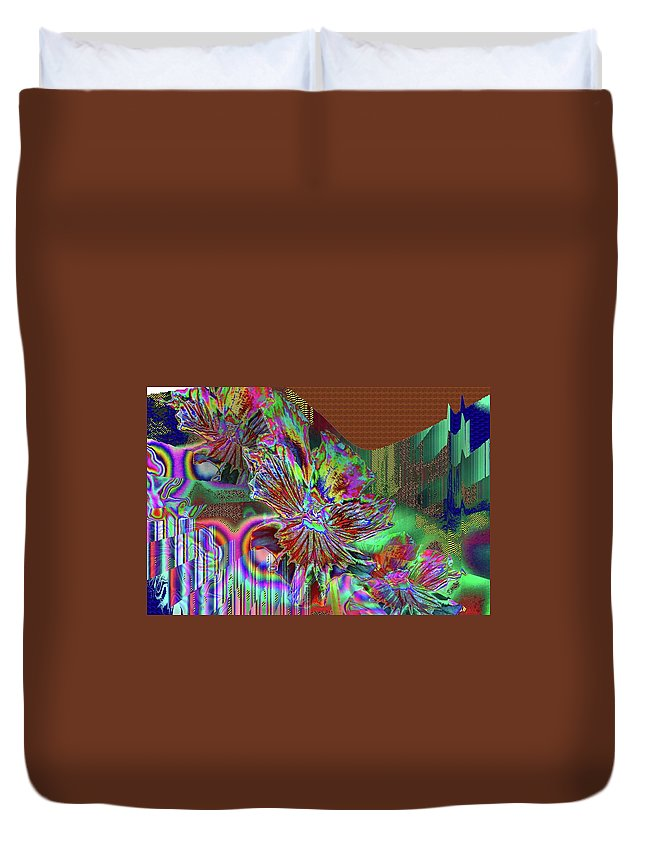 Abstract Duvet Cover featuring the photograph A Foiled Pansy by Jeff Swan