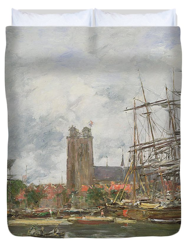 Boudin Duvet Cover featuring the painting A French Port by Eugene Louis Boudin