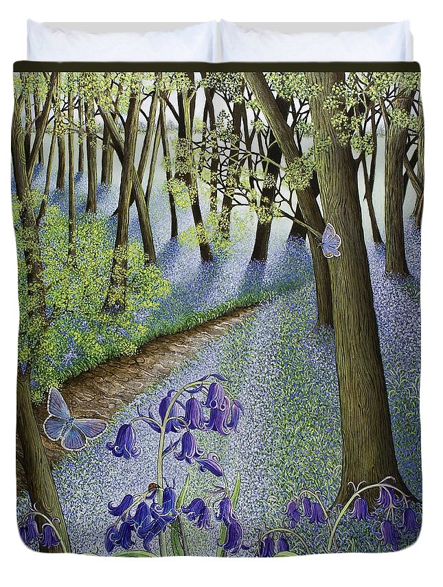Woods; Flowers; Bluebells; Bluebell; Flower; Tree; Trees Duvet Cover featuring the painting A Fresh Start by Pat Scott