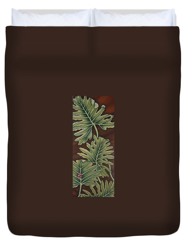 Frog Duvet Cover featuring the painting A Frog On A Philodendron by Jeniffer Stapher-Thomas