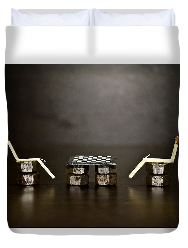 Concept Duvet Cover featuring the photograph A Game Of Chess by Vasu Agarwal