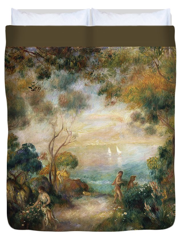 Garden Duvet Cover featuring the painting A Garden In Sorrento by Pierre Auguste Renoir