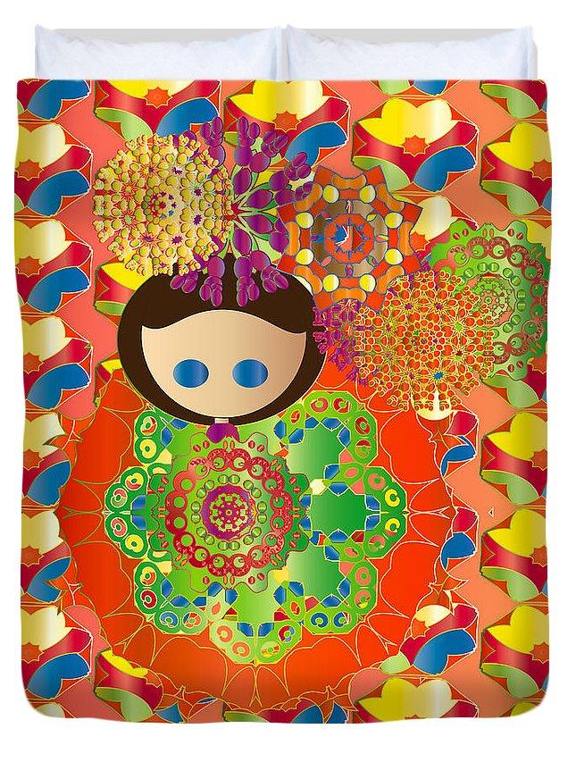 Garden Duvet Cover featuring the digital art A Garden by J Riley Johnson