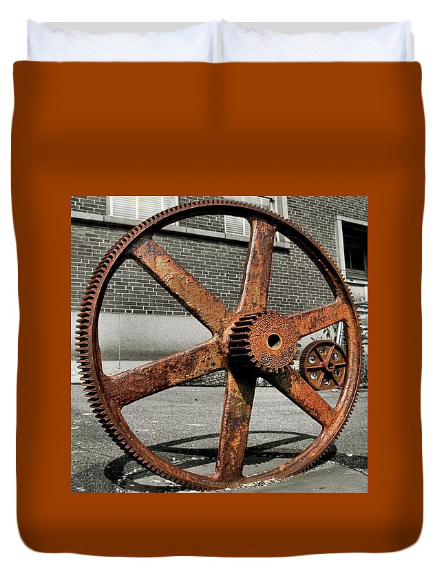 Bethlehem Steel Duvet Cover featuring the photograph A Gear In A Gear by DJ Florek