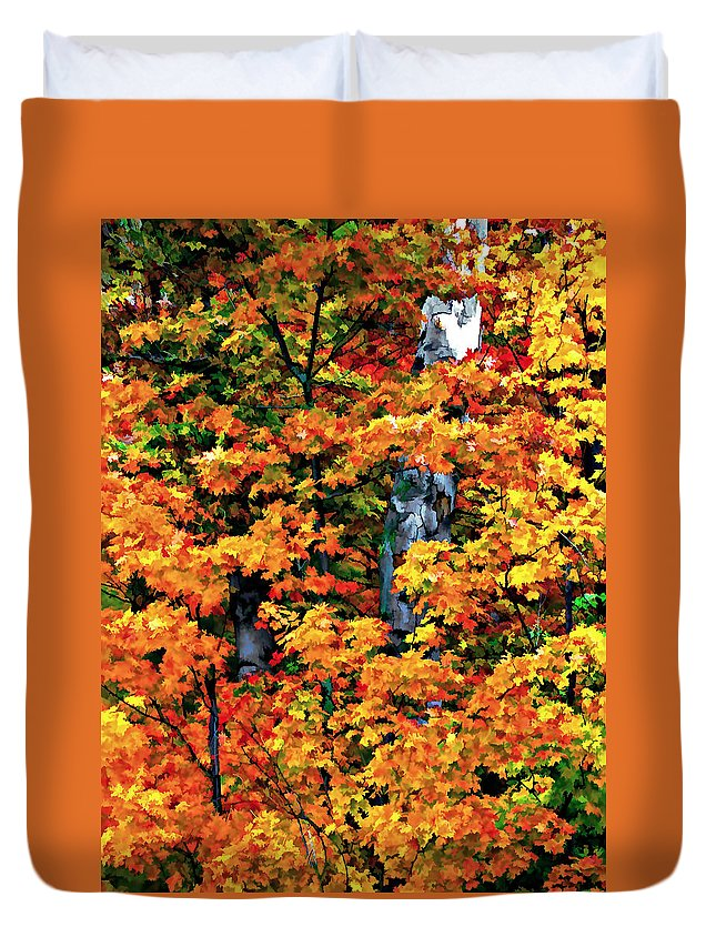Trees Duvet Cover featuring the photograph A Giant Passes by Steve Harrington