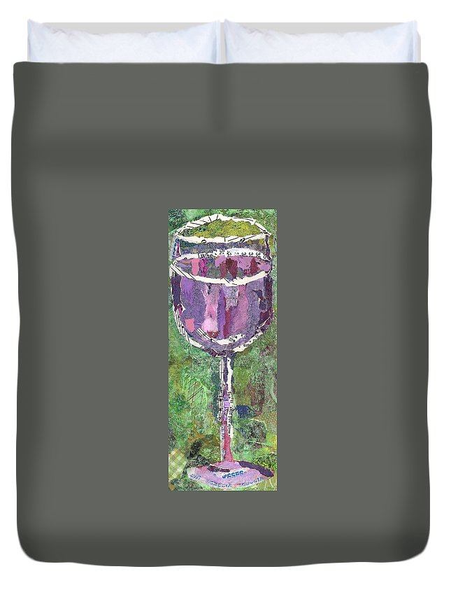 Wine Duvet Cover featuring the painting A Glass Of Vino by Sandy Karsten