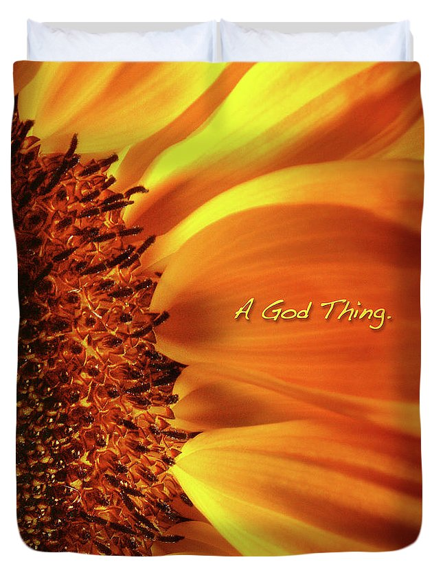 Sun Flowers Duvet Cover featuring the photograph A God Thing-2 by Shevon Johnson