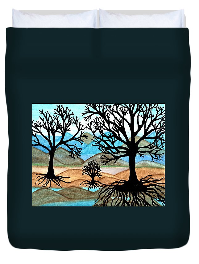 Black Trees Duvet Cover featuring the painting A Good Foundation by Connie Valasco
