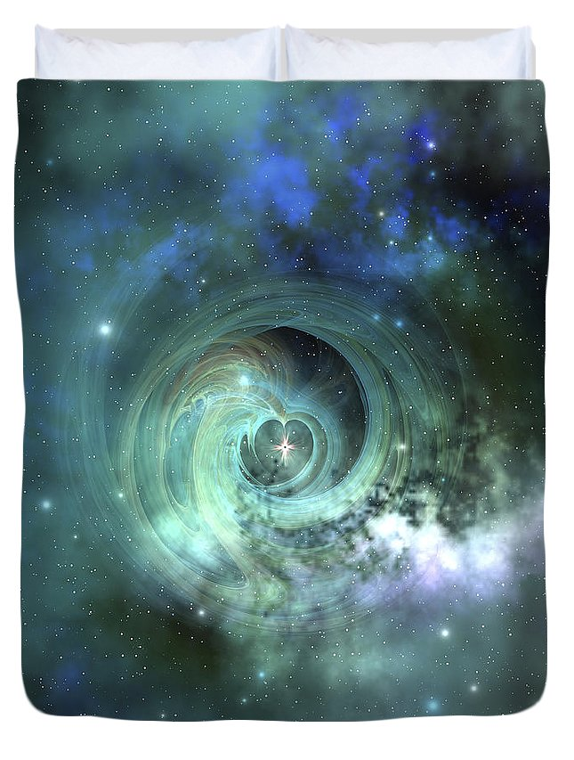 Space Art Duvet Cover featuring the digital art A Gorgeous Nebula In Outer Space by Corey Ford