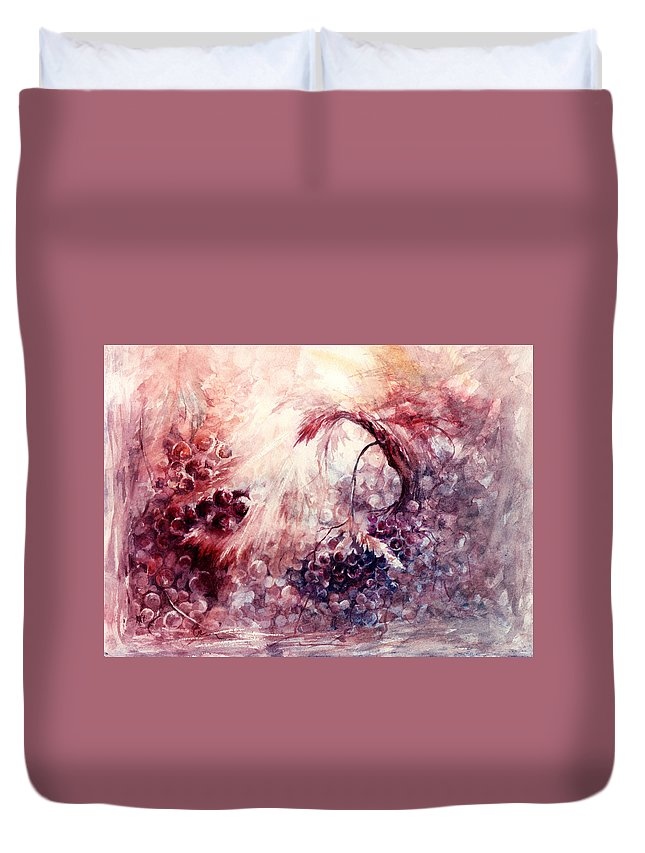 Grapes Duvet Cover featuring the painting A Grape Fairy Tale by Rachel Christine Nowicki