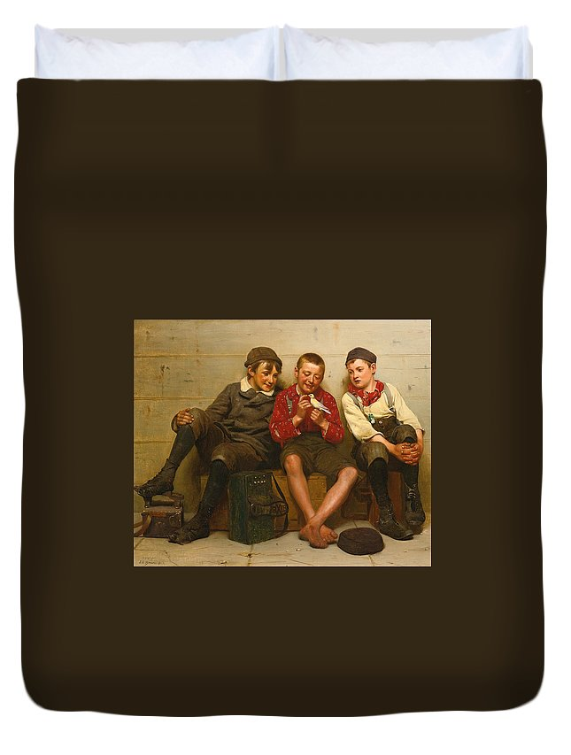John George Brown Duvet Cover featuring the painting A Great Find by John George Brown