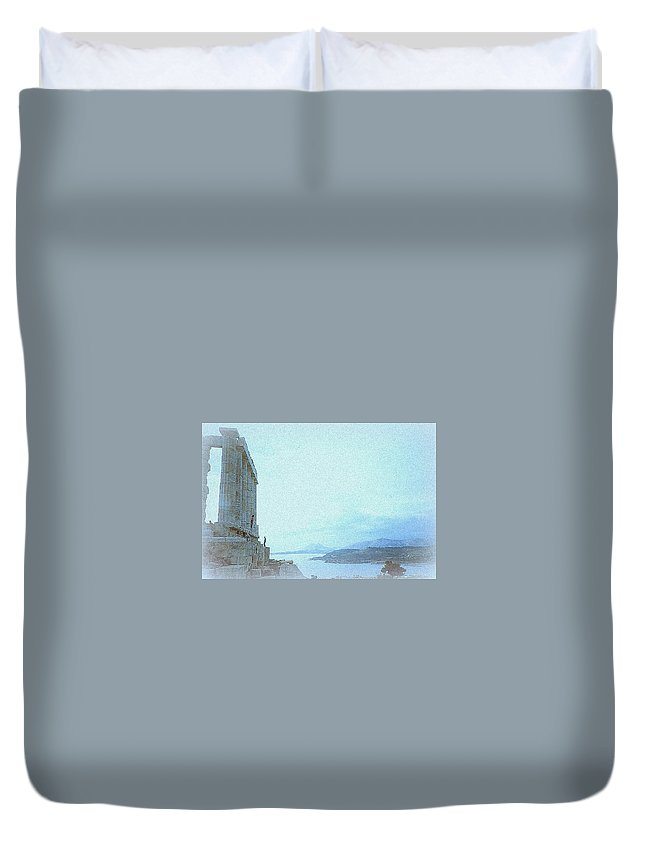 Temple Duvet Cover featuring the photograph A Greek Temple by Maro Kentros