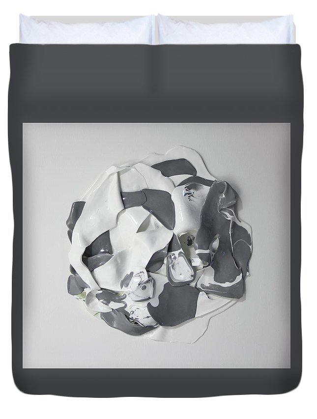 Grey Duvet Cover featuring the painting A Grey Area by Madeleine Arnett