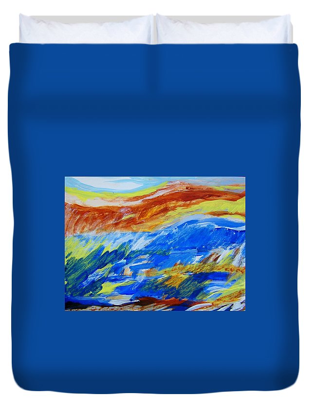 Landscape Duvet Cover featuring the painting A Happy Day For Observing by Judith Redman
