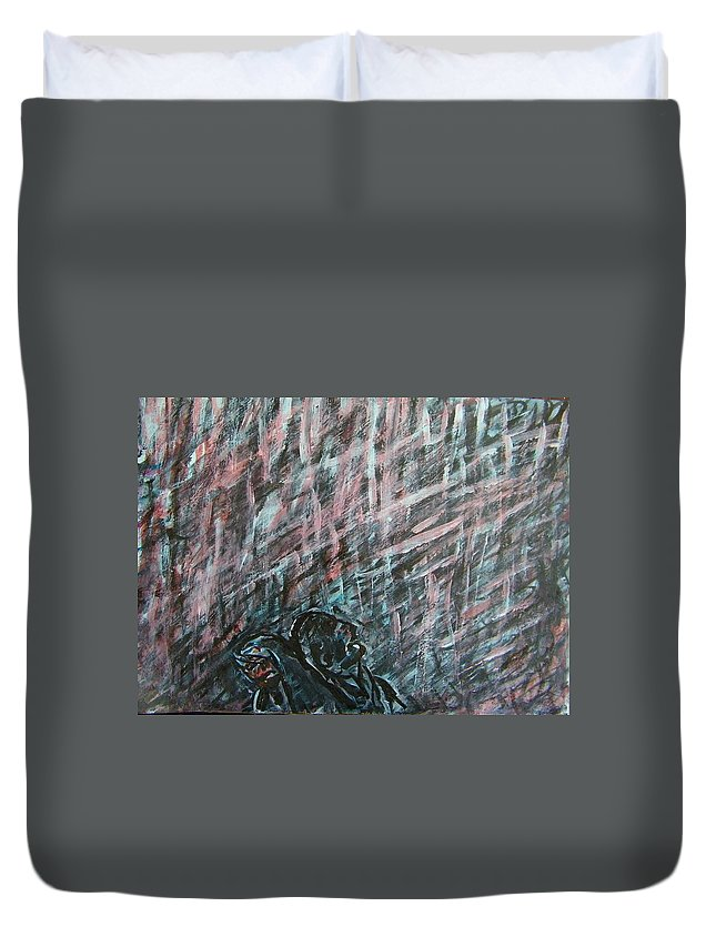 Abstract Duvet Cover featuring the painting A Hard Rain Gonna Fall by Judith Redman