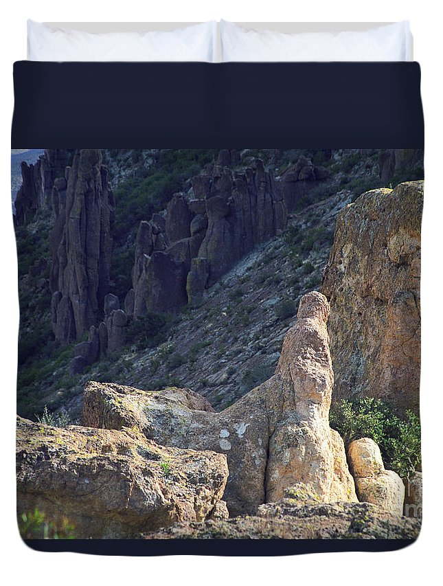 Rock Formations Duvet Cover featuring the photograph A Hard Ride by Kathy McClure
