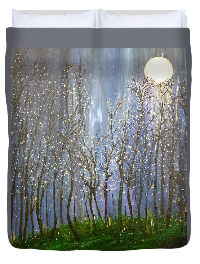 Whimsical Art Duvet Cover featuring the painting A Haunting Romance by Sara Credito