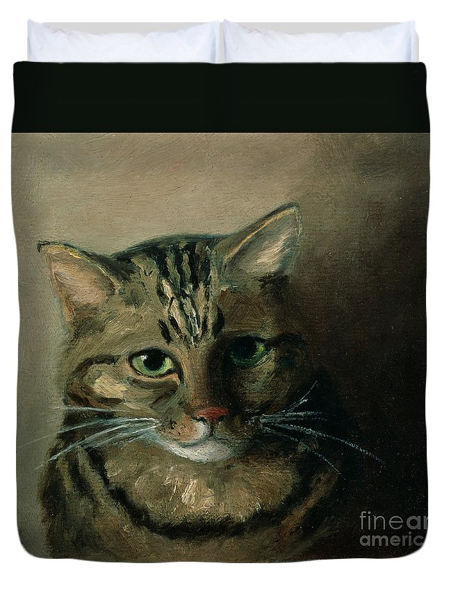 A Head Study Of A Tabby Cat Duvet Cover featuring the painting A Head Study Of A Tabby Cat by Louis Wain