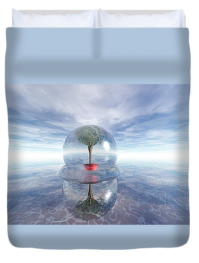 Surreal Duvet Cover featuring the digital art A Healing Environment by Oscar Basurto Carbonell